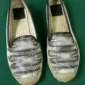 Tory Burch leather faux snakeskin espadrille.